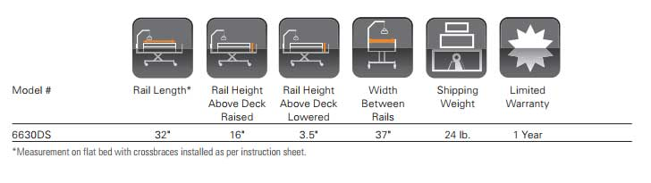 Clamp-on Bed Rail Specifications
