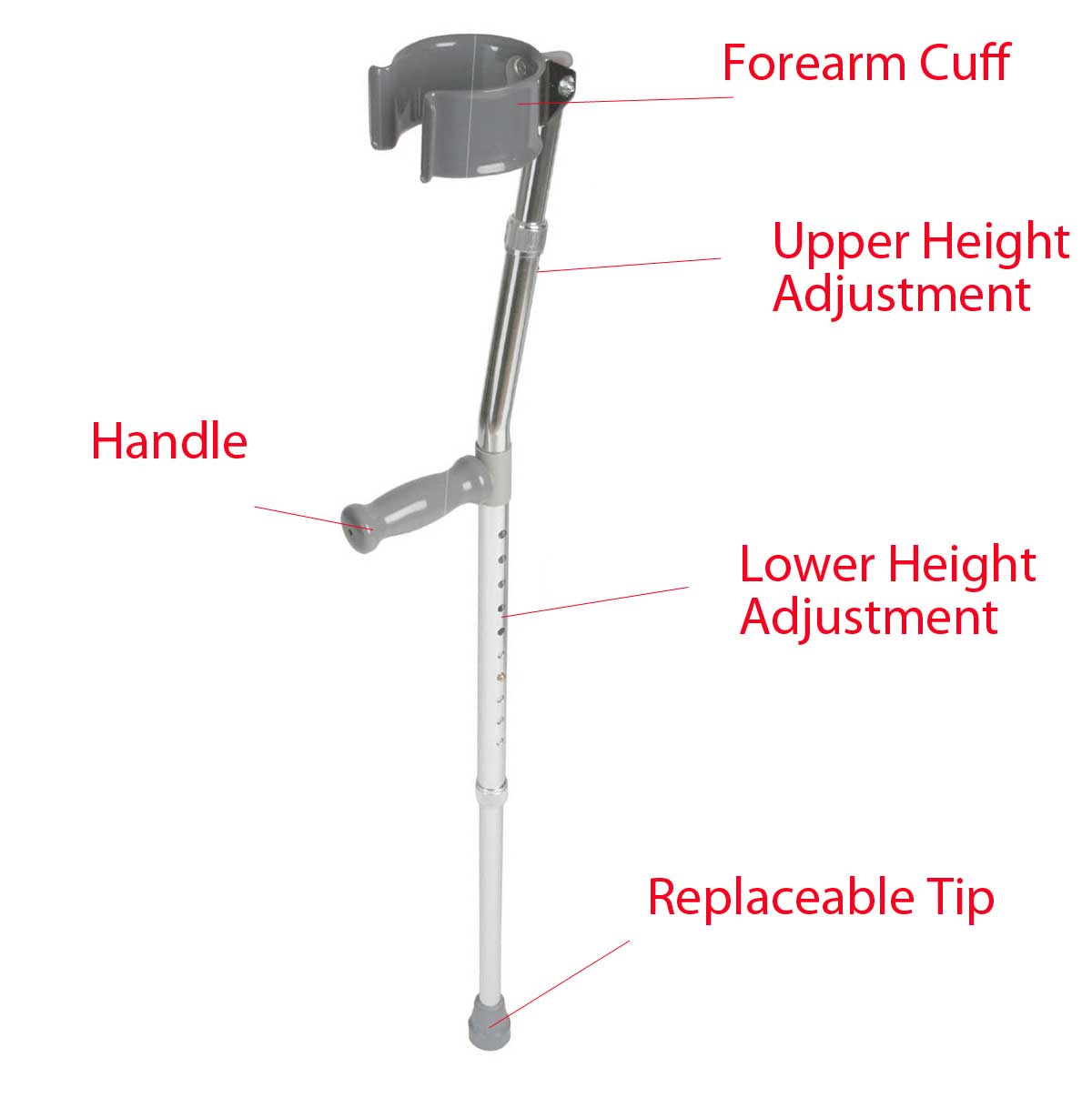Parts of a Forearm Crutch