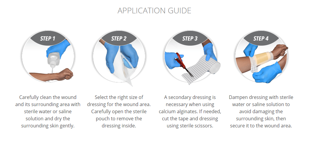 Application Guide for Abena Alginate Dressing with Silver