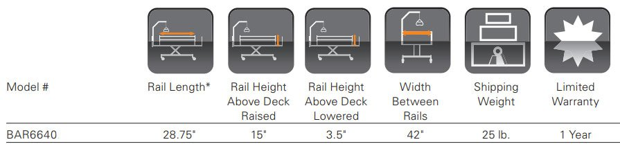 Bed Rail Specifications Chart