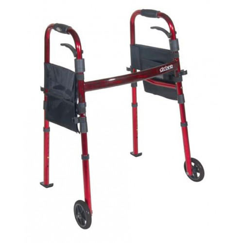 "Portable Compact Folding Travel Walker with 5"" Wheels and Fold up Legs by Drive"