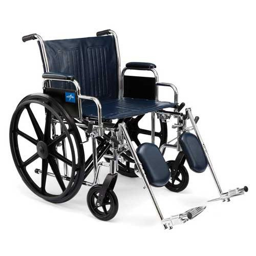 Medline Extra-Wide 20 Inch with Removable Desk-Length Arms and Swing Away Foot Rests Bariatric Wheelchair