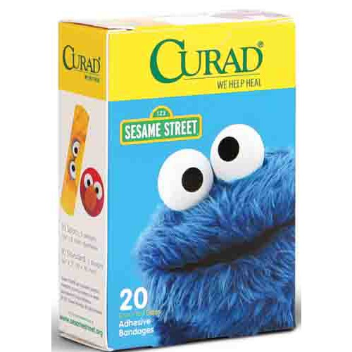 CURAD Sesame Street Adhesive Strips, Latex Free