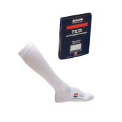 White TED Hose Knee High Closed Toe