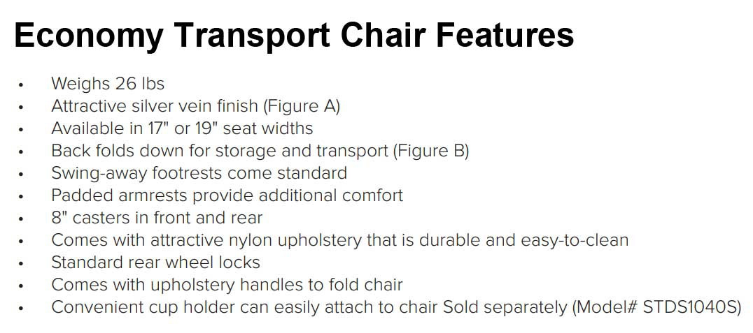economy steel transport chair by drive 1fc