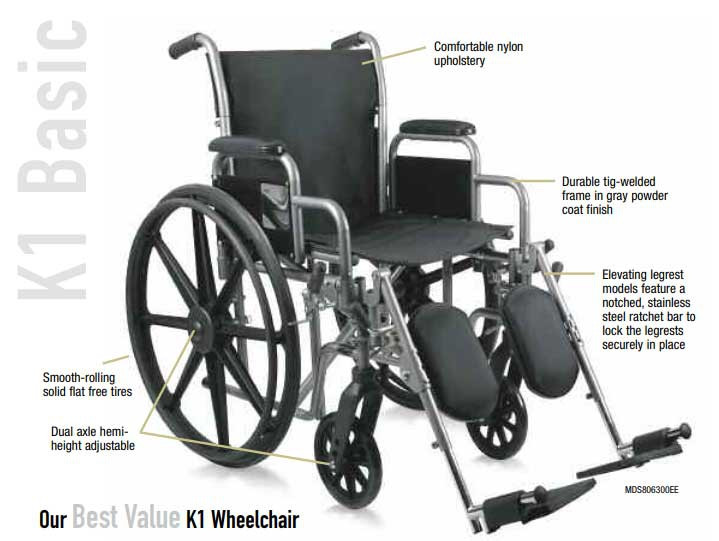 medline strong and sturdy wheelchair f08