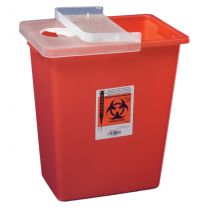 12 Gallon Red Sharps Container with Hinged Lid 8933