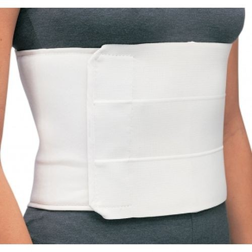 Panel elastic with foam/flannel lining. Contact closure for proper adjustment. Latex free. Ideal for providing compression and support for fractures and strains to the rib cage.