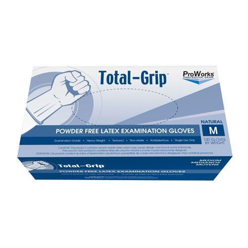 ProWorks Total Grip Latex Exam Grade Powder Free Gloves