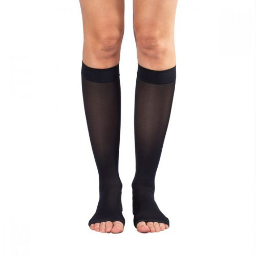 Shape To Fit Unisex Microfiber Medical Knee High Open-Toe Stockings 20-30 mmHg