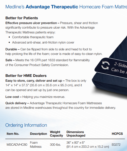 Medline MSCADVHC80 Advantage Therapeutic Homecare Foam Mattress