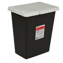 8 Gallon Black SharpSafety Waste Container with Hinged Lid 8607RC