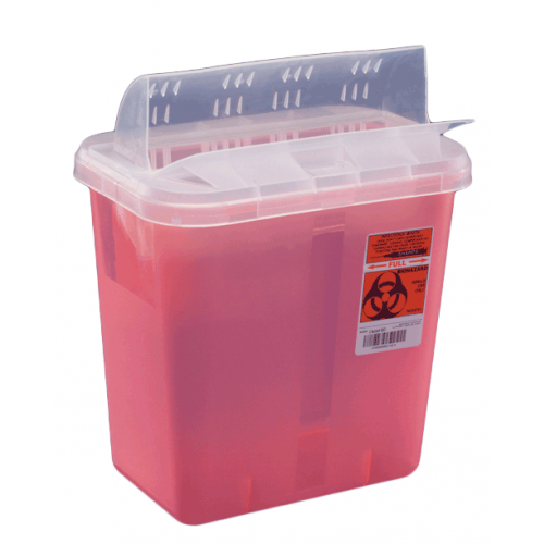 2 Gallon Red Multi-Purpose Sharps Container with Horizontal Drop Opening Lid 89651