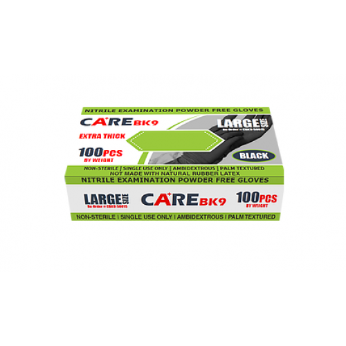 CARE Black 9-Inch Nitrile Exam Powder-Free Gloves