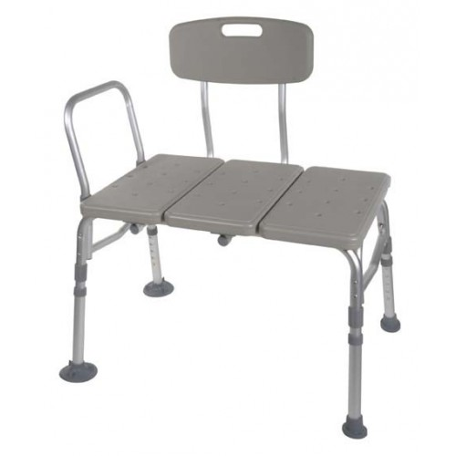 Bath Shower Transfer Bench with Adjustable Backrest Plastic
