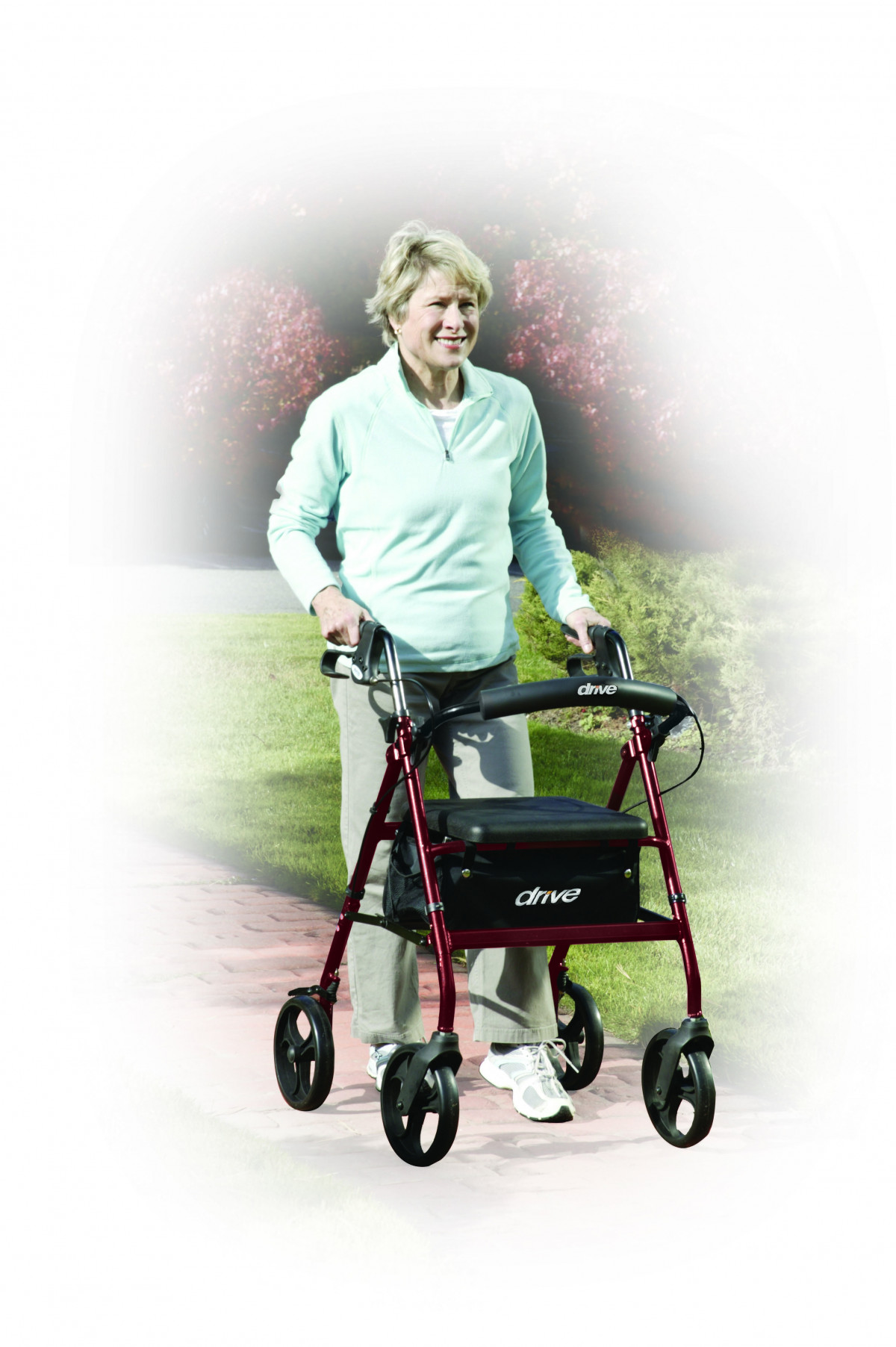 lightweight rollator with fold up and removable back support by drive b1c