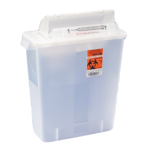 12 Quart Transparent SharpStar Sharps Container with Counterbalance Lid 8537SA