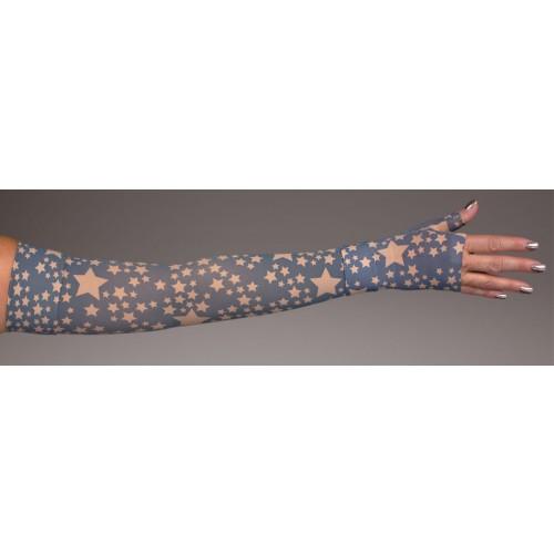 LympheDivas Stella Navy on Bei Chic Compression Arm Sleeve 30-40 mmHg w/ Diva Diamond Band