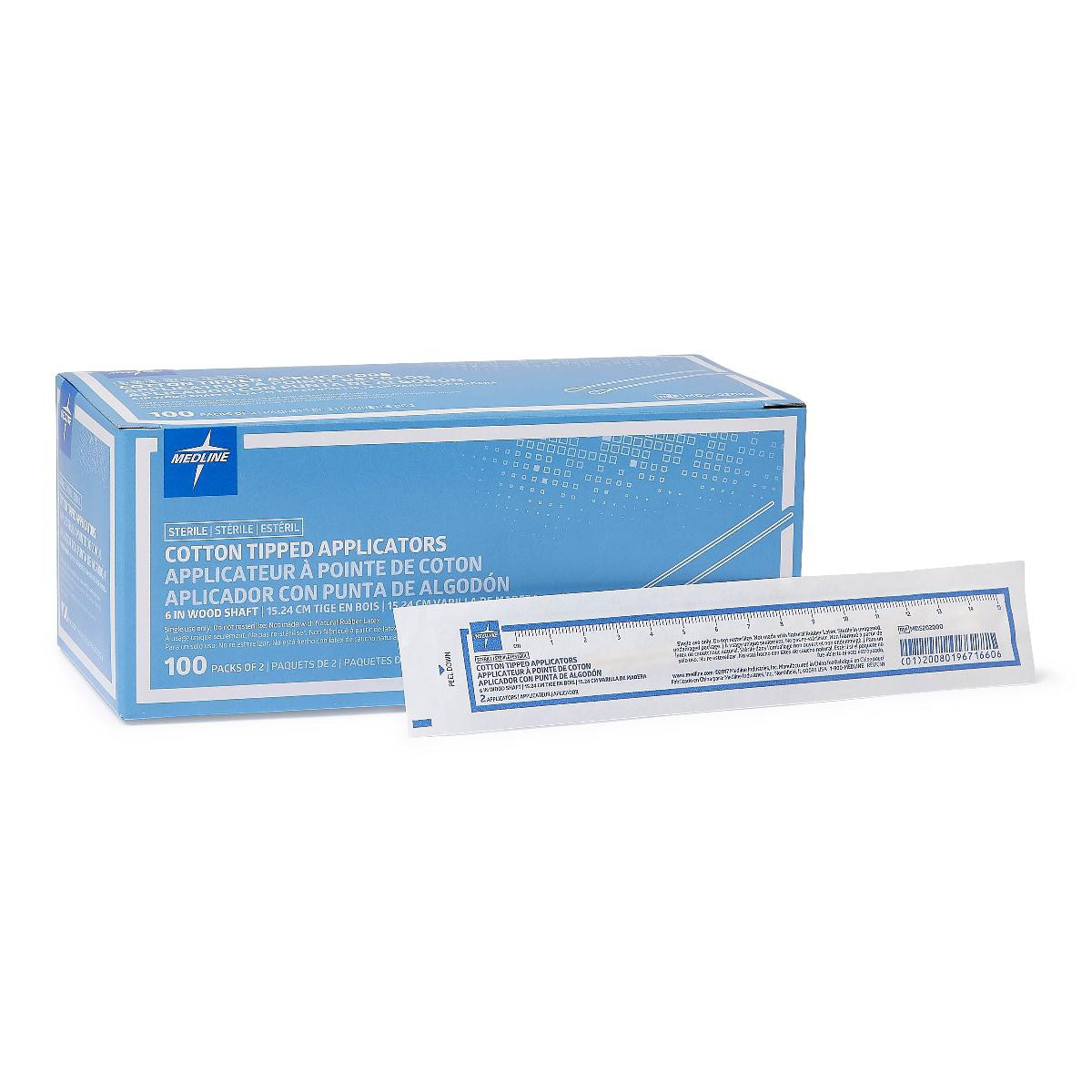 medline sterile cotton tipped applicators plastic or wood c1e