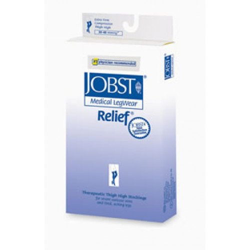 Jobst Relief Thigh High Compression Socks with Silicone Top Band CLOSED TOE 30-40 mmHg