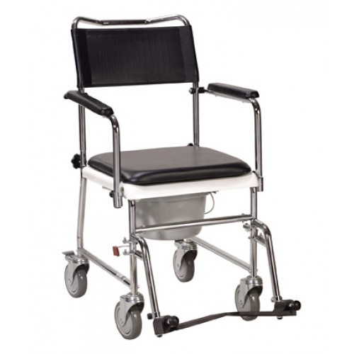 Portable Wheeled Bedside Commode with Upholstered Drop Arms by Drive