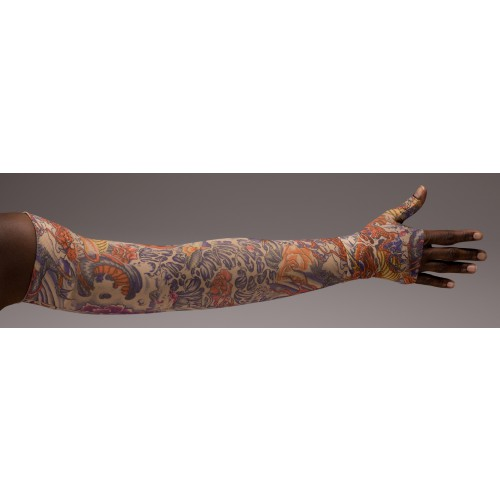 LympheDivas Lotus Dragon Tattoo Compression Arm Sleeve 20-30 mmHg w/ Diva Diamond Band