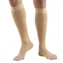 TRUFORM Classic Medical Knee High Silicone Dot Top OPEN TOE 30-40 mmHg