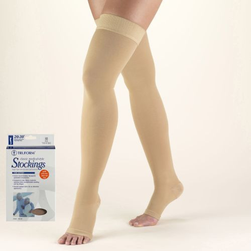 TruForm Thigh High Compression Stocking with Silicone Dot Top Open Toe 20-30 mmHg