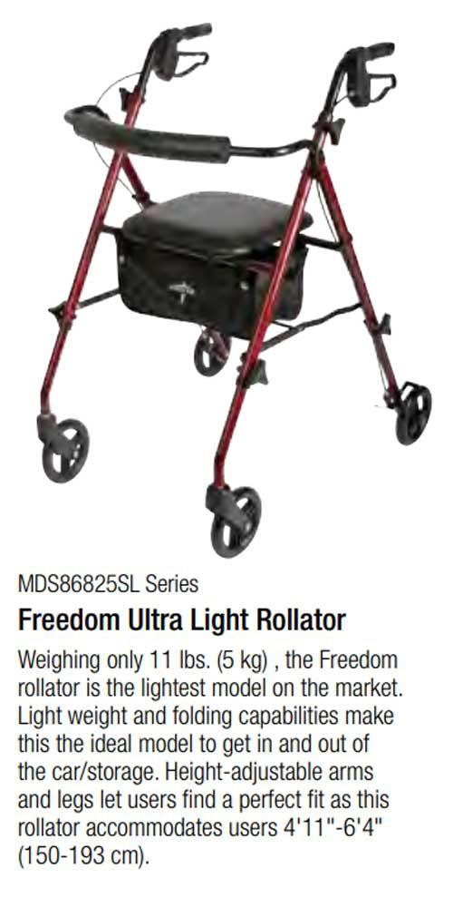 medline ultralight freedom rollator 662