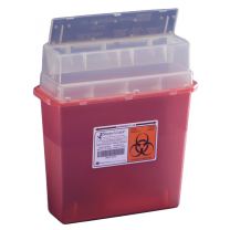 5 Gallon Transparent Red Sharps-A-Gator Sharps Container Tortuous Path 31144010