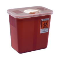 2 Gallon Red Sharps Container with Rotor Lid 8970