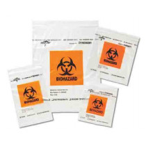 "Medline Zip-Style Biohazard Specimen Bags, Plastic/Latex Free, 9 x 6"", 6 x 9"""