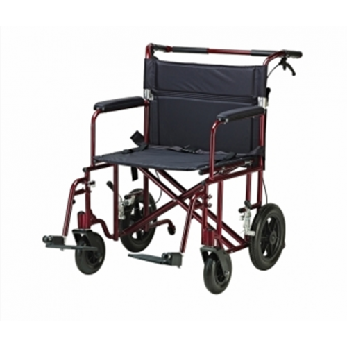 "Bariatric Transport Chair 22"" Aluminum with 12"" Rear ""Flat Free"" Wheels"