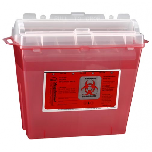 5 Quart Transparent Red Sharps Container with Rotating Cylinder Opening 175-030