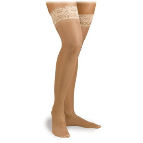 Activa Ultra-Sheer Lace Top Thigh High Compression Socks 9-12 mmHg