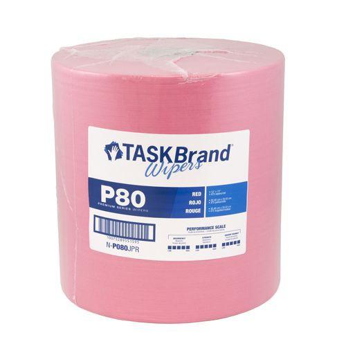 "Taskbrand P80 Pd Hydrospun, 12""X13"", Jumbo Roll, Polywrapped, Red Wipers"