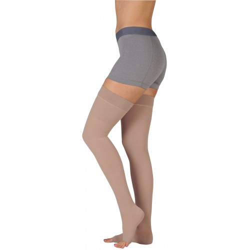 Juzo 3511AG Dynamic Thigh High Compression Stockings w/ Silicone Top Band OPEN TOE 20-30 mmHg