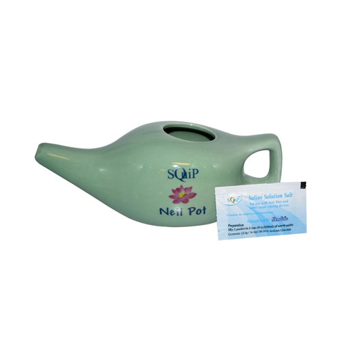 Squip Products Ceramic Neti Pot with 20 Saline Solution Packets
