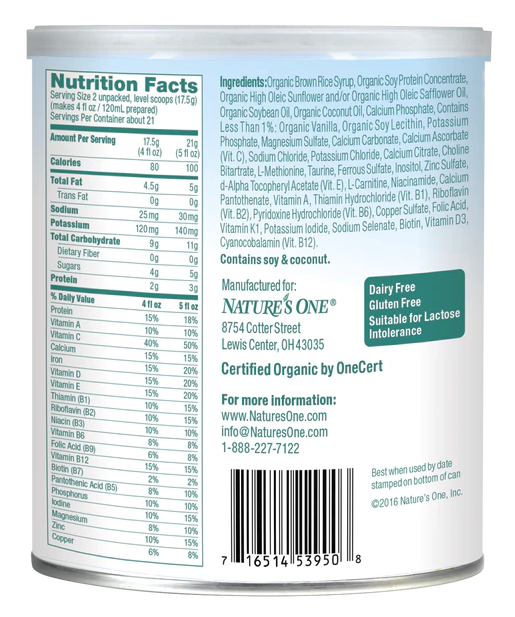 Natures One Baby S Only Organic Soy Formula 53950m