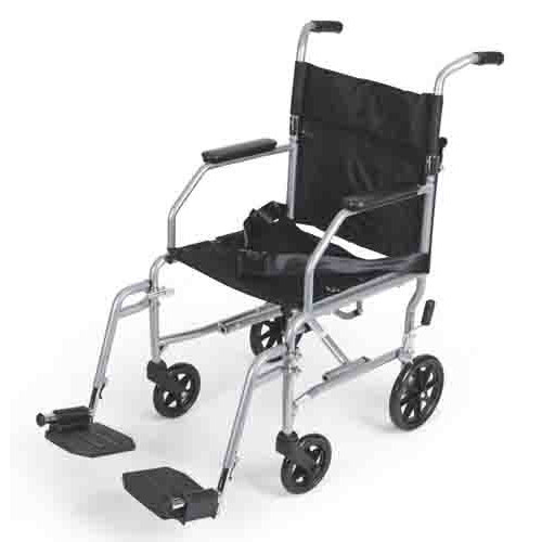 """Medline Steel Transport Wheelchair with 19"""" Wide Seat, Easily Folds for Travel and Transport, Supports up to 300 lbs"""