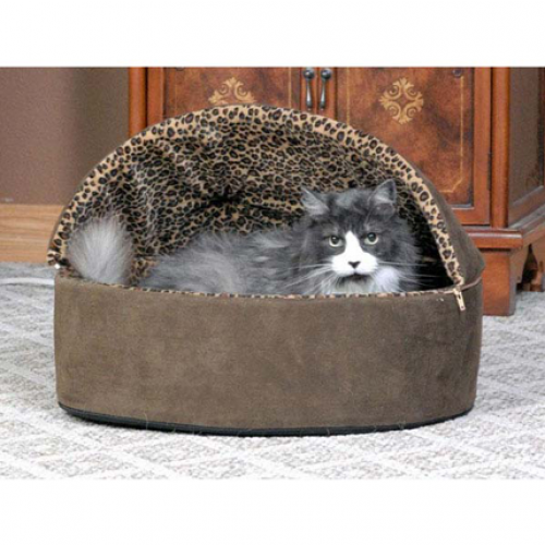 K and H Pet Products Deluxe Hooded Thermo Kitty Bed