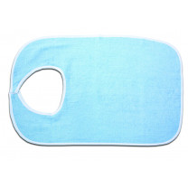 Blue Terry Cloth Bib with Hook and Loop Closure