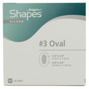 PolyMem Shapes 1823 | #3 Silver Oval Dressing - 2 x 3 Inch Oval Adhesive, 1 x 2 Inch Pad by Ferris