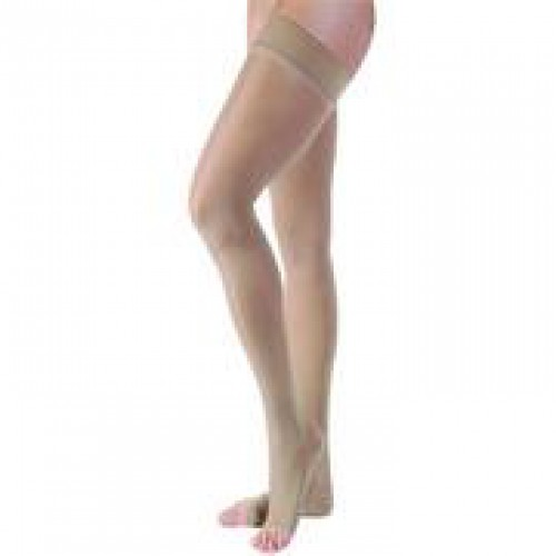 VENOSHEER Thigh High Compression Stockings OPEN TOE 30-40 mmHg Beaded Silicone
