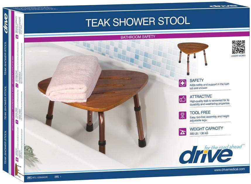 Teak Bath Shower Stool Comfortable Adjustable Height