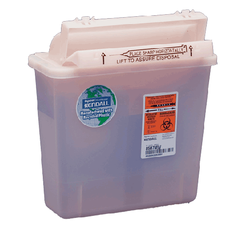 5 Quart Red RENEWABLES Sharps Container with Counterbalance Lid 8507MW