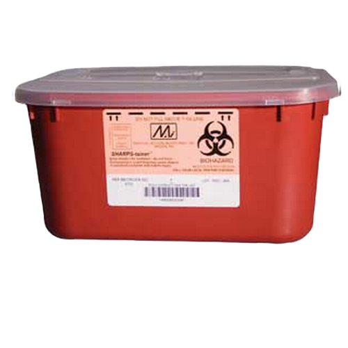 1 Gallon Red Stackable Sharps Container with Biohazard Symbol 8703