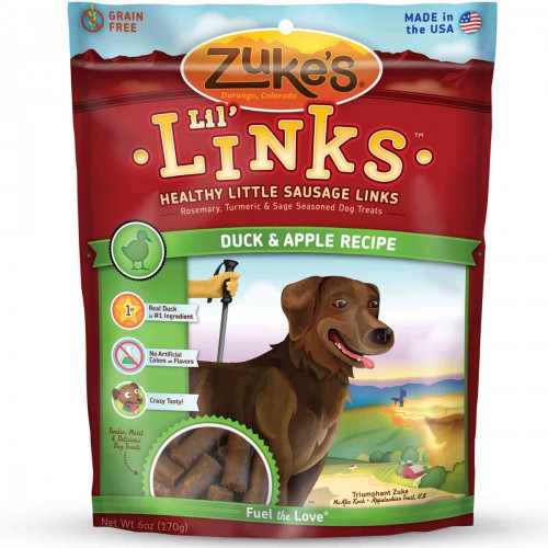 Lil' Links Healthy Grain Free Little Sausage Links for Dogs Duck and Apple