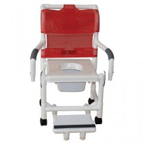 MJM Deluxe Shower Chair with Vacuum Seat, Sliding Footrest and Square Pail