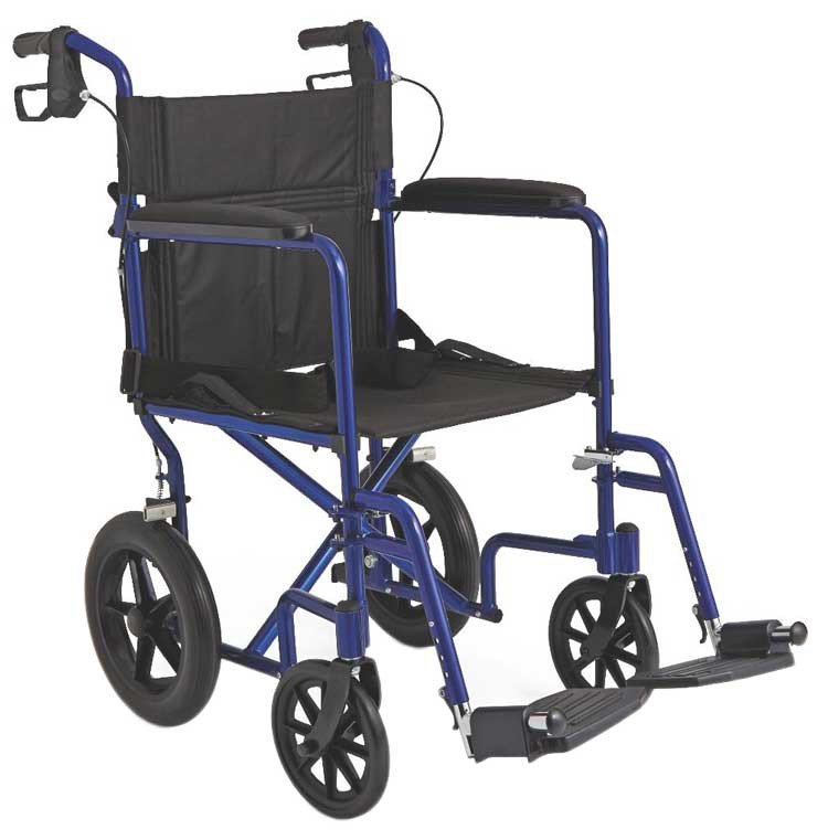 medline lightweight transport adult folding wheelchair with 12 wheels b98